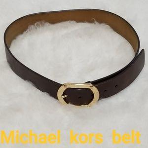 ❣ Michael Kors thick Brown leather Gold belt sz. M